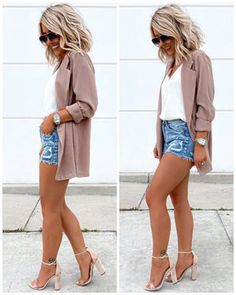 day to night outfit Laura Beverlin Blazer shorts spring summer Casual Date Night Outfit Summer, Go Out Outfit Night, Cute Date Outfits, Day To Night Outfits, Style Outfits, Summer Fashion Outfits, Mode Outfits, Cute Casual Outfits, Short Outfits