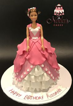 Pink Barbie Dolly Varden Birthday Cake
