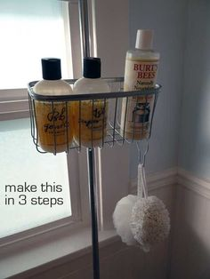 My first thought when we bought a house with a clawfoot tub: Oh goodie. My second: Where do I put my stuff? The only thing I found online was a tray that stretched across the tub -- it cost $60 and wasn't exactly convenient for keeping shampoo and soap in easy reach. Then I discovered this fantastic DIY shower caddy.