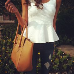 peplum top and bag. Love the classic simplicity with the peplum trend. Could also work with a pencil skirt.