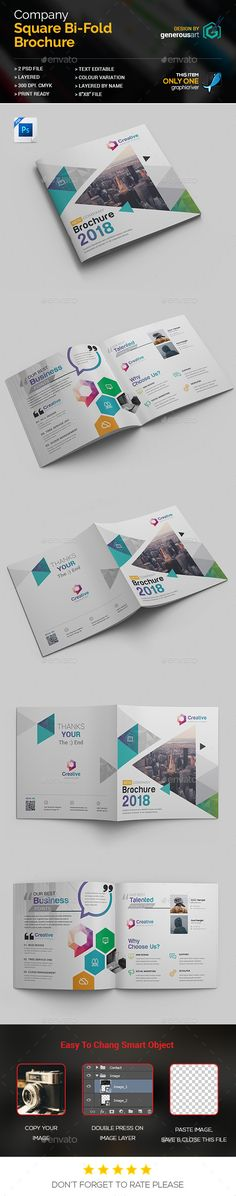 Square #Bi-Fold Template - Corporate #Brochures