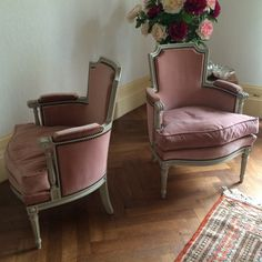 Pair of Louis XVI Style Painted Bergeres Armchairs