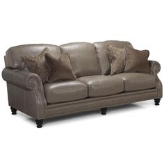 Leather Sofa in Longhorn Dove Grey Tufted Sofa, Grey Couches, Velvet Couch, Green Sofa, Nebraska Furniture Mart, Couch Covers, New Living Room, Black Kitchens, Blue Pillows