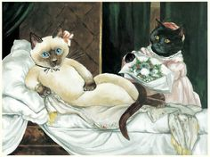 Cats are featured in Art throughout the centuries. One of the most famous artists who uses cats as her inspiration is Susan Herbert. Image Chat, Cat Jokes, Most Famous Artists, Fancy Cats, Cat People, Old Art, Funny Art, Cute Illustration, Animal Paintings