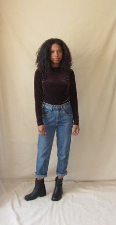 Your place to buy and sell all things handmade Turtleneck Shirt, Long Sleeve Turtleneck, Velvet Tops, Polyester Spandex, Mom Jeans, Grunge, Turtle Neck, Purple, Blouse