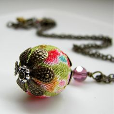 Lime green with orange, cherry, baby pink and sky blue. Kimono Fabric Cherry Blossom necklace