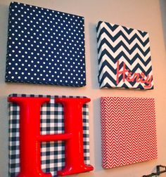 DIY Art Canvas: Cover canvas with fabric, or use paper and coat with mod podge. Add a letter to spell child's name. Hang with ribbon!