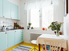 similar style to our kitchen - just painted the cupboard surround almost the same blue - Resene Foam