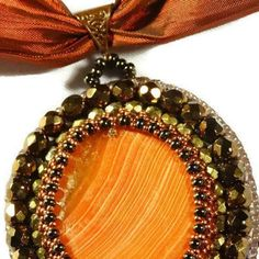 Orange Bronz Handmade Beaded  Gemstone Pendant - MemetJewely