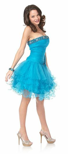 Cute Short Turquoise Homecoming Dress Poofy Skirt Tulle Beading Strapless Bow