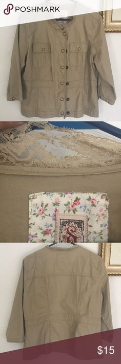 Tan Jacket Lace torn around neck (shown in picture), worn once or twice decree Jackets & Coats Tan Jacket