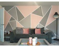 pared de la pantalla Cute Bedroom Decor, Bedroom Wall Designs, Bedroom Wall Colors, Accent Wall Bedroom, Stylish Bedroom, Teen Room Decor, Room Wall Painting, Room Paint, Geometric Wall Paint