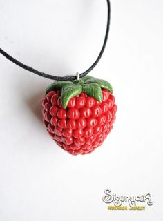 Polymer Clay Raspberry Necklace - DIY idea