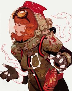This character has an interesting colour pallet of red, light brown/green and black. I like the style of the outfit, and how the weapon on her hip resemble a spaceship/rocket. The colour red hasn't been overused, and so gives the outfit a more space adventurer/astronaut feel.