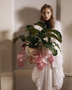 Cover Magazine (Denmark) Nov. 2012.  Dorothea Barth Jörgensen, model. Sigurd Grünberger, photo. Medinilla Magnifica, pot of flowers.