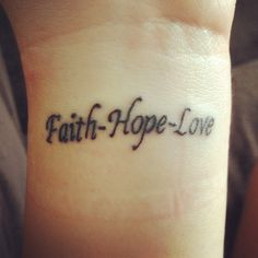 I finally got my first tattoo and I'm in love with it! I got it from 1st Corinthians 13:13 now abide by faith,hope, love but the greatest of these is love