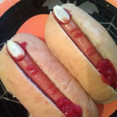"So gross but would be fun for Halloween! Hotdog fingers ""Vicky's Halloween Savoury Severed Fingers."""