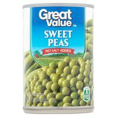Great Value Sweet Peas, No Salt Added, 15 oz