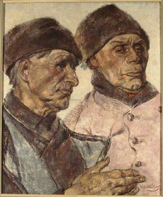 Twee Volendammers 1902-1957 maker: Wouters, Wilhelmus Hendrikus Marie (Wilm) (1887-1957) #NoordHolland #Volendam