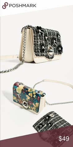 Zara Cross body bag with interchangeable flap. Included with second floral flat Zara Bags Crossbody Bags