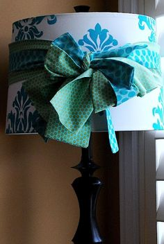Stenciled Lampshade - by Tatertots & Jello