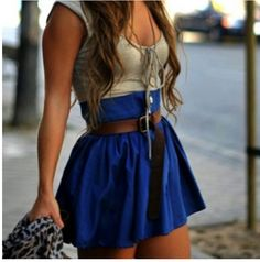 Cute summer outfit- grey shirt with blue skirt and belt