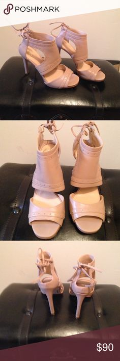 💥Sale💥Vince Camuto  Tan Heels Tan 4 inch heels, super sexy tie back around the ankle. Has silver, looking gold studs. Barely worn. Almost New Vince Camuto Shoes Heels