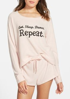 This clever pajama set outlines the weekend plan perfectly.
