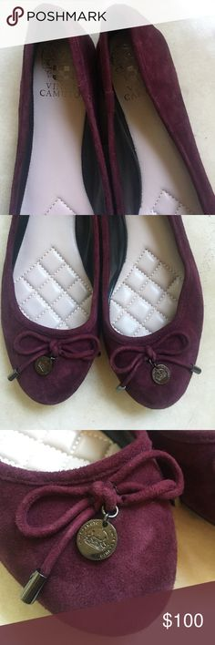 "VINCE CAMUTO Round-Toe Burgundy Suede Ballet flats NWOT. Never worn. Excellent like-new condition Vince Camuto flats. Dark burgundy suede. Fit true to size. Cushioned sole. Bow with round metal stamped ""Vince Camuto"" emblem. Vince Camuto Shoes Flats & Loafers"