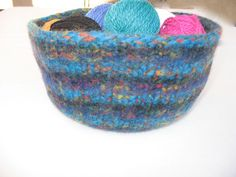 Colorful hand-knitted large wool felted bowl by susansworld