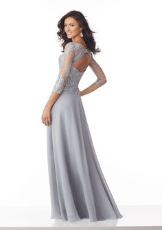 Chiffon Special Occasion Dress with Metallic Lace Appliqués on Net | Style 71813 | Morilee