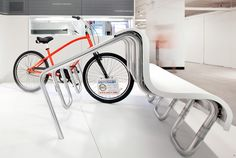 'bench rack' hybrid seating and bike rack, designed by matt gray.