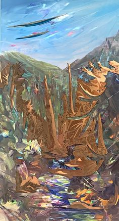 Copper Canyon, mixed media landscape painting by Joel Masewich   Effusion Art Gallery + Glass Studio, Invermere BC Mountain Paintings, Nature Paintings, Landscape Paintings, Spring Landscape, Beach Landscape, Headboard Art, Modern Art, Contemporary Art, Lake Painting