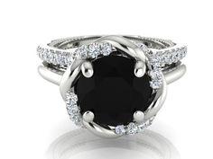 Engagement  Rings set, Diamond Wedding Rings, White Gold Wedding Ring Set, Black diamond ring, White and black Diamonds Ring and band by BridalRings on Etsy https://www.etsy.com/listing/255593017/engagement-rings-set-diamond-wedding