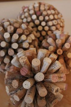 Cork Ball Decoration - I think instead of hot glue, I would use toothpicks.
