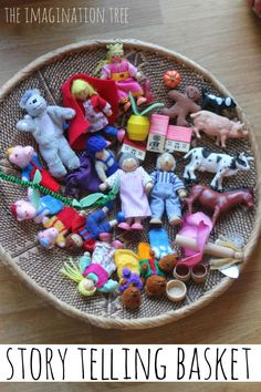 Storytelling basket. Love this idea for a bit of quieter (or not!) story time --> so fun.