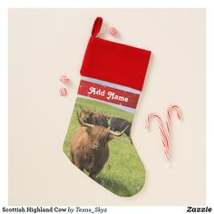 Scottish Highland Cow Christmas Stocking Scottish Highland Cow, Scottish Highlands, Christmas Card Holders, Christmas Cards, Pet Christmas Stockings, Santa Claus Is Coming To Town, Christmas Animals, Keep It Cleaner, Great Gifts
