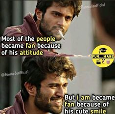 Vijay Devarakonda Adorable Cute Expressions From Arjun Reddy True Feelings Quotes, Girly Attitude Quotes, Girly Quotes, Smile Quotes, Cute Quotes, Reality Quotes, Actor Picture, Actor Photo, Crazy Girl Quotes