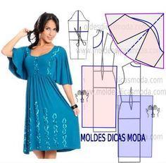 Faça a analise de forma detalhada do desenhe do molde de vestido manga godé. Este vestido é simples e veste de forma descontraída e elegante.