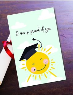 Printable Proud Graduation Printable Greeting Card Printable Cards, Printables, Baby Nursery Art, Father Birthday, Printed Pages, Have Time, Your Cards, Card Stock, Greeting Cards