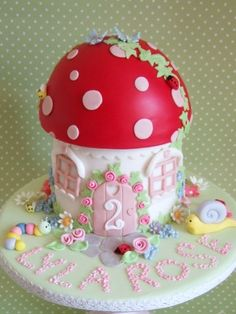 Christening cake makers Bristol: Baby showers, Naming day, Blessings, Holy Communion, baby and children's Birthday Cakes Birthday Cup, Fairy Birthday Party, Birthday Cake Girls, Birthday Cakes, Woodland Fairy Cake, Fairy House Cake, Toadstool Cake, Single Layer Cakes, Fairy Cakes