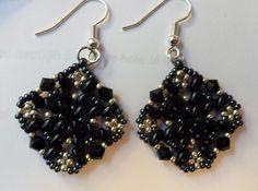 db1141 - handmade black and silver beaded diamond shaped earrings by dbDabblings on Etsy