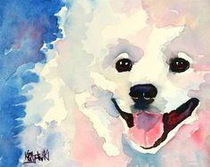 American Eskimo Dog Art Print of Original Watercolor Painting 11x14. $24.50, via Etsy.