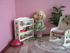 50s Doll Furniture  Hand Painted  Flowered  Book by TheToyBox