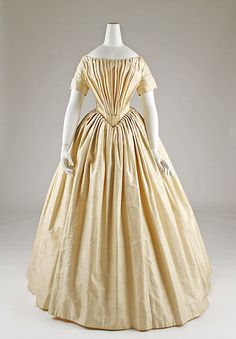 Wedding dress Date: ca. 1844 Culture: probably French Medium: silk, cotton Dimensions: Length at CB: 53 in. (134.6 cm) Credit Line: Gift of Mrs. Osborne Howes, 1950 - See more at: http://www.metmuseum.org/collection/the-collection-online/search/108071?=&imgno=0&tabname=related-objects#sthash.7lcexDUa.dpuf