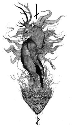 Deer Illustration, Ink Illustrations, Body Mods, Occult, Satan, Cool Artwork, Blackwork, Dark, Tattoos