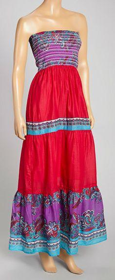 Fuchsia & Purple Smocked Maxi Dress