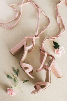 Blush velvet shoes