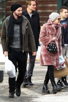 pink fur coat + leggings + shiny patent dr martens + furry patterned turtleneck + slouchy simple knit beanie