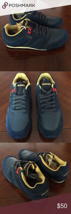 Diesel leather sneakers mens new Brand new mens diesel jeans sneakers. In navy blue leather with gold trim. These are very comfy and the leather is real soft. High quality sneaker. Size 10 men. Size 12 womens. Bought in nordstroms a few years ago. These arent made anymore so hard to find. Thanks. Diesel Shoes Sneakers